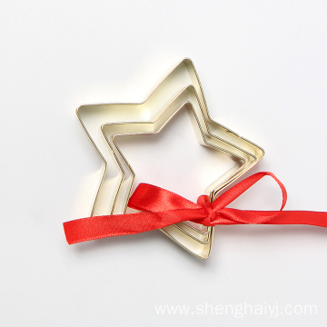 Star golden plating Christmas cookie cutter set
