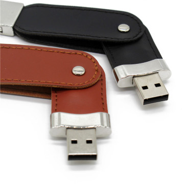 USB flash drive 64gb Leather metal keyring Pendrive