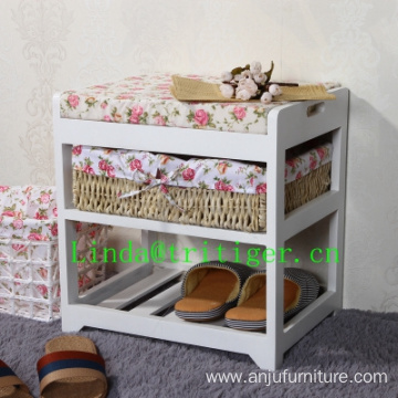 Willow basket wood shoe rack storage with stool seat bench