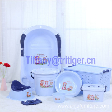 Food grade plastic baby wash bucket wash bailer children shower bath round plastic basin for sale 7 PCS/Set