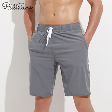 Men quick dry long swim trunks with belt