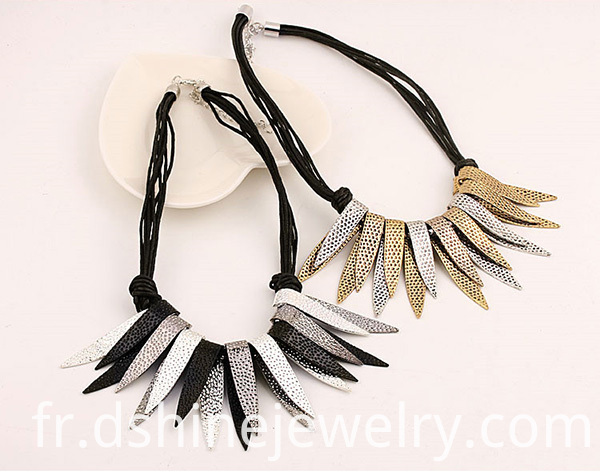 Alloy Collar Necklace Jewelry With Fringe Leaf Leaves Tassel Necklace Jewelry