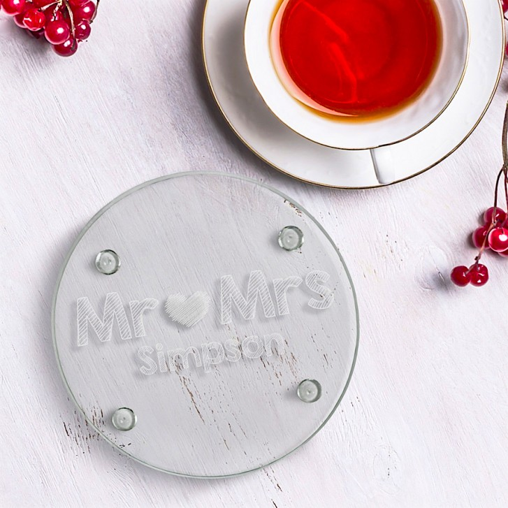 Personalised Mr And Mrs Round Glass Coaster