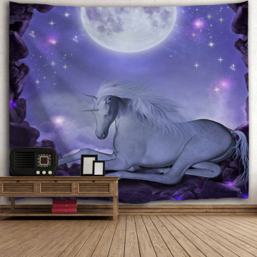 Unicorn Purple Tapestry Moon Night Galaxy Wall Hanging Animal Tapestry for Livingroom Bedroom Home Dorm Decor