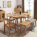 Light Rubber Solid Wood Long Table for 6