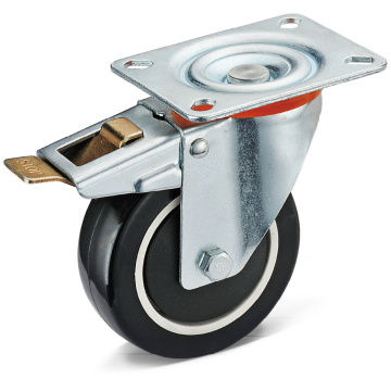 PU Flat Plate Swivel Caster With Total Brake