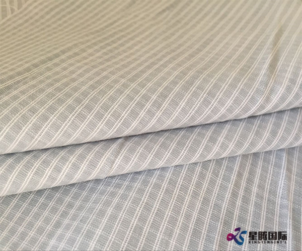 White Stripe Plain Bamboo Fabric