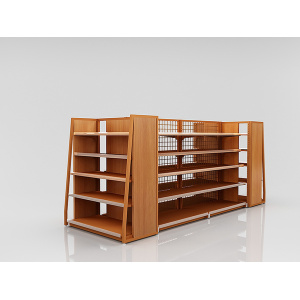 Metal Wooden Supermarket Display Shelves