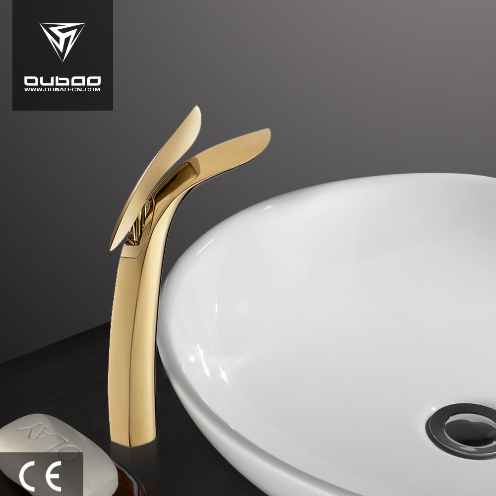 Solid Gold Basin Tap Polished Brass Faucets