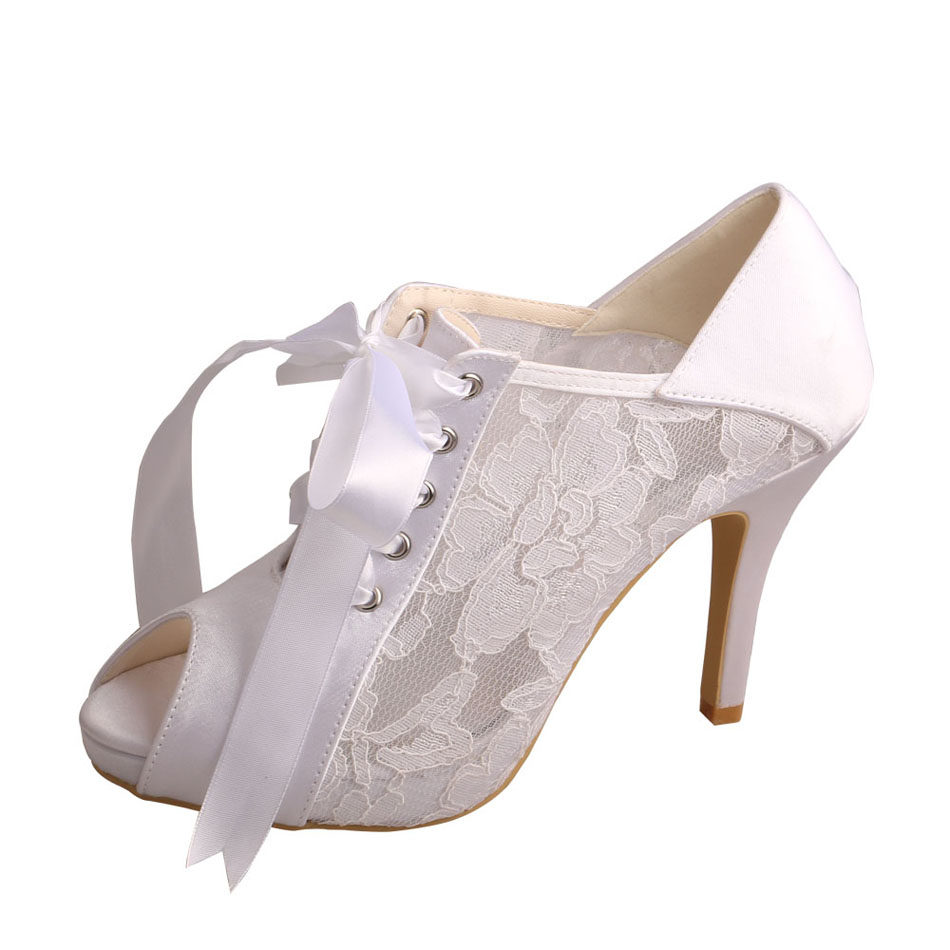 Lace Peep Toe Wedding Shoes High Heeled