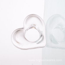Pressed Glass Heart Shaped Candle Holder