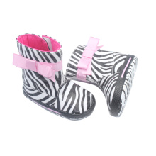 OEM/ODM for Baby Boots Moccasins Fashion Zebra-Stripe PU Leather Baby Boots supply to Netherlands Factory
