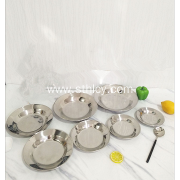High Quality 201 Stainless Steel Round Serving Tray