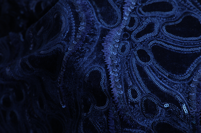 Sequins Velvet Embroidery Fabric