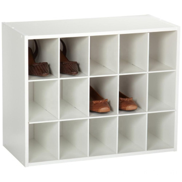 Laminated wood Stackable 15-Unit Organizer White shoe organizer