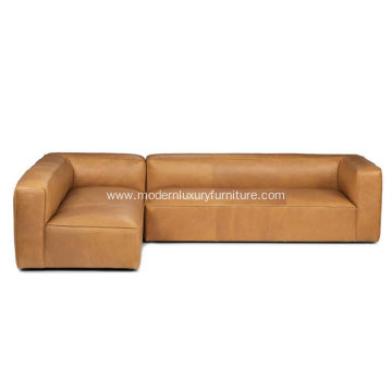 Mello Taos Tan Leather Left Sectional Sofa