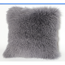 Curly Mongolian Lamb Skin Pillow Silver Grey