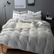 China for Dyed Jacquard Duvet Covers CVC 25/75 Grey Plaid Duvet Covers export to Portugal Manufacturer
