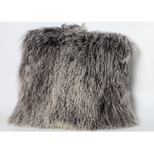 Mongolian Sheep Fur Skin Pillow Grey