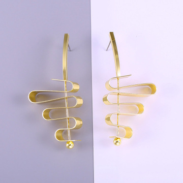 Womens New Simple Gold Plated Drop Earrings