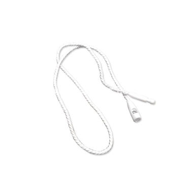 Plastic merchandise string tags with polyester cord