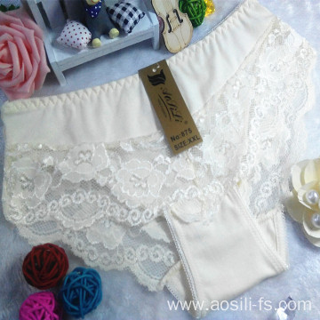 new style China wholesale cheap beige yellow sexy girl lace cotton fancy underwear 875