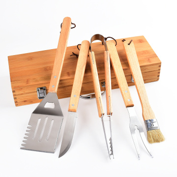 BBQ Wooden Handle BBQ Tool Set with Wooden Box