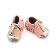 Genuine Leather Baby Shoes with Fringe