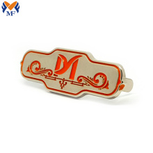 Custom metal logo tag for handbag