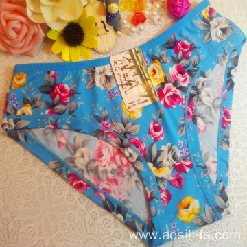 OEM wholesale China cheap sky blue sexy women printed flowers fancy underwear 505