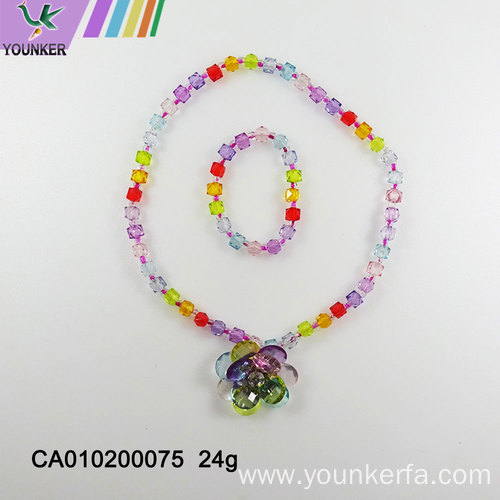 Rainbow candy girl bubble gum necklace