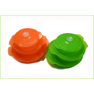 Customized for Bento Lunch Box Set Round Silicone Collapsible Lunch Box Set export to Seychelles Exporter