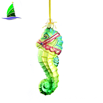Glass Green Sea Horse Christmas Hanging Ornament