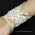 White Lace Pearl Bracelet For Wedding With Ring Set