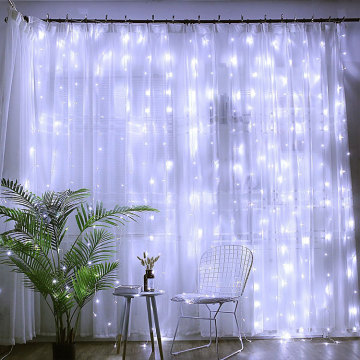 White LED Curtain Fairy String Christmas Lights
