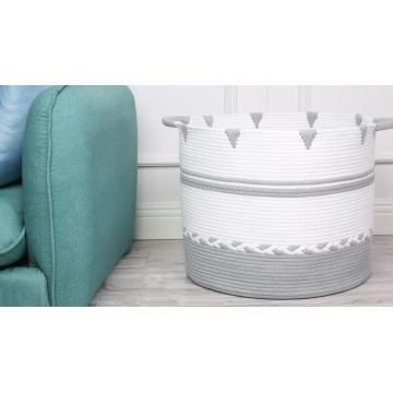 Eco Friendly Cotton Rope Basket With Grey Braided