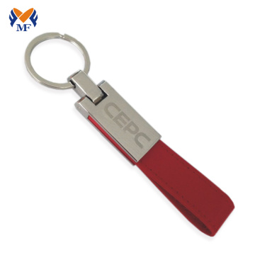 Custom pu handmade leather keychain with logo