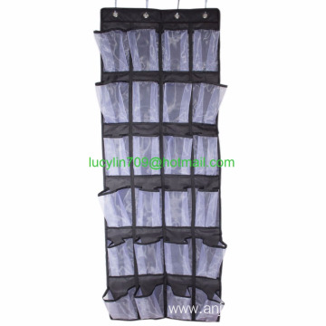 Over the Door Shoe Organizer 24 Large Mesh Pockets 600D Oxford Fabric with 4 Reversible Metal Mounting Hooks, Multi-purpose, Dur