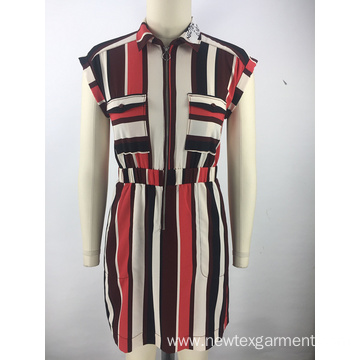 colorful striped zipper ladies dress