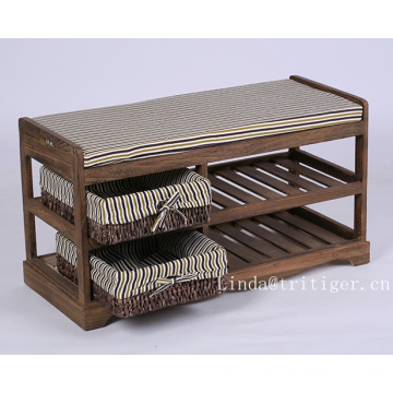 Factory wholesale cheap shoes storage wood stool shoes-changing bench with seat