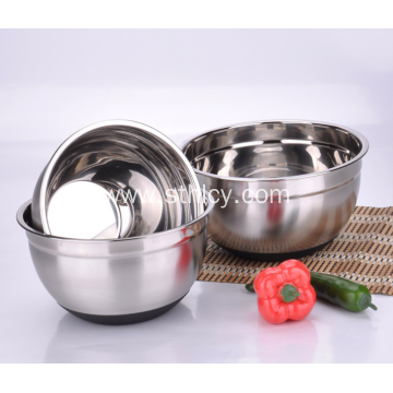 Silicone Base Anti Skid Stainless Steel Salad Bowl