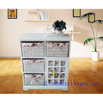 beside table storage wood cabinet with wicker drawer