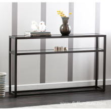 Thin Small Dark Black Glass Console Table