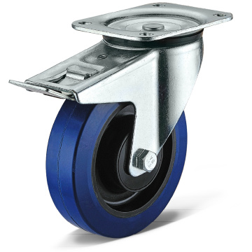 Elastic Rubber Flat Bottom Movable Double Brake Casters
