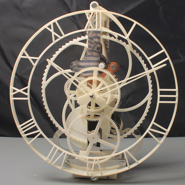 Plastic White Hollow Gear Pendulum Clock