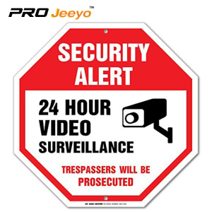 24 hour video surveillance traffic reflective sign board
