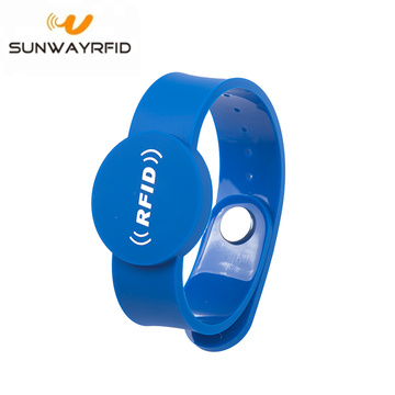 Tamper Button PVC RFID Wristbands NFC Chip Bracelet