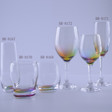 Lovely Drinking Glassware Set With Rainbow Bottom
