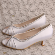 Bridal Peep Toe Shoes White Satin