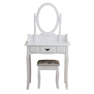 Dressing Table 3-Drawer Makeup Dresser Set with Stool Oval Mirror